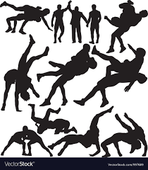 Vectors Silhouettes Wrestling Silhouettes Royalty Free Vector Image