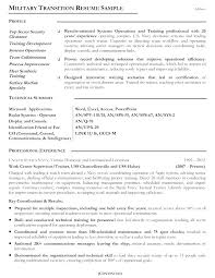 Retired Military Resume Examples Military Transition Resume Examples
