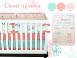 baby girl crib bedding baby bedding coral mint pink
