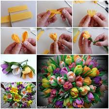 How To Make Paper Flower Bouquet Step By Step Diy Beautiful Bouquet Of Crepe Paper Crocuses