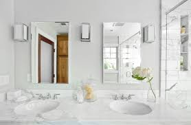 Charming White Bathroom Vanity Mirrors - White marble bathroom