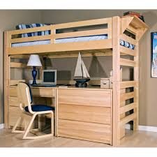 image of wood storage loft bed with desk