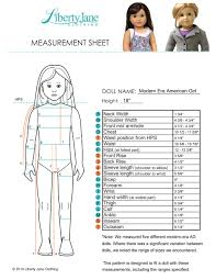 American Doll Size Chart