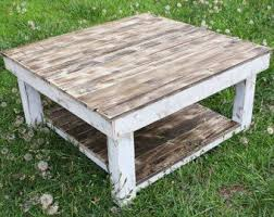 White Shabby Farmhouse Reclaimed Wood Coffee Table With Shelf   Square Coffee  Table   Barnwood Table