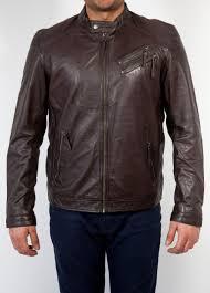 mens zipper leather jacket brown