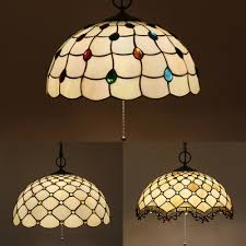 glass lattice bowl pendant light with beads cafe 16 inch antique style pendant lamp with pull