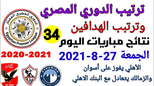 ترتيب الدوري المصري وترتيب الهدافين ونتائج مباريات اليوم الجمعة 27-8-2021  من الجولة 34 - YouTube