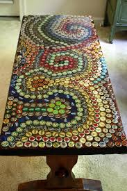 DIY bottle cap mosaic table