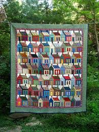 Home Sweet Home: House Quilts & Colorful House Quilt Hanging with Trees in Background Adamdwight.com