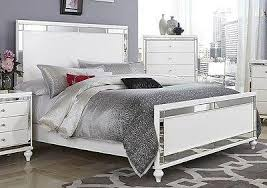 GLITZY 4 PC WHITE MIRRORED QUEEN BED N/S DRESSER U0026 MIRROR BEDROOM FURNITURE  SET