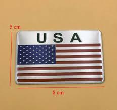 Motors <b>5X Aluminum</b> American USA US Flag Sticker Emblem Badg ...
