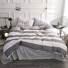 grey and white striped duvet cover. Fine Duvet FenDie Grey White Striped Duvet Cover Set Queen Cotton Bedding Set  ReversibleZipper Closure Intended And