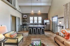 view of open kitchen vaulted great room