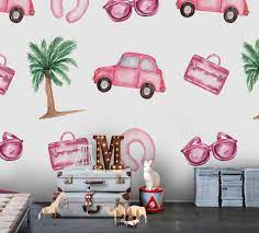 3D Cartoon Pink Car Coconut Tree Wall ...