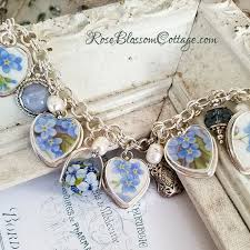 forget me not flowers blue lace agate broken china jewelry sterling charm bracelet