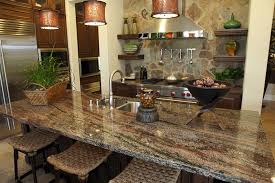 kitchen island with streaked granite counter