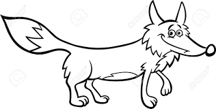 1300x659 black and white cartoon ilration of funny wild fox