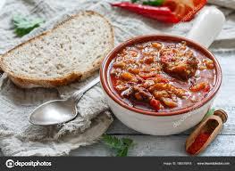 Dicke Fleischsuppe Mit Paprika. Ungarische Kücheu2013 Stockbild