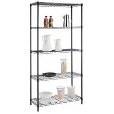 5 shelf black wire shelving unit