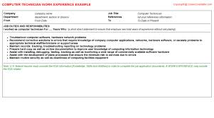 technician job titlecomputer technician cv work experience