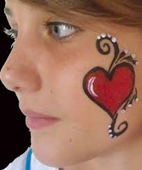 heart face painting design cheek art consider offering to kids before a fest parade to raise money for the club or the department