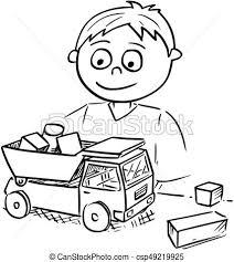 男の子 おもちゃのブロック 木車 イラスト 遊び レンガ 漫画