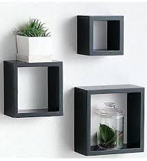 square box wall shelves modern home 3 pieces black square cube wall shelf  set white square