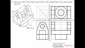 engineering drawing tutorials orthographic drawing with sectional front side view t 7 2a you