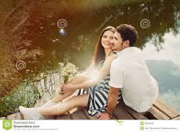 Sensual Romantic Couple In Love On Pier At The Lake In Summer Da