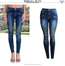 Moto Biker Pleated Skinny <b>Jeans</b> Women <b>Fashion Fake</b> Zippers ...