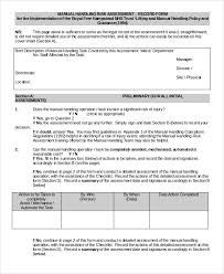 Manual Handling Assessment Form Template Sample Manual Handling Risk ...