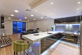 retro modern lighting. Retro Modern Kitchen Design With Sectional Green Chair And Led Light Under The Island Icluding Lighting N
