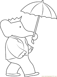 Small Picture Babar with Umbrella Coloring Page Free Babar Coloring Pages