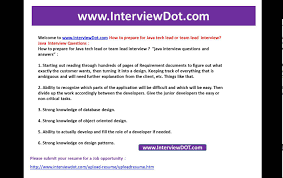 interview questions team leader how to prepare for java tech team lead java interview interviewdot