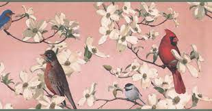 Colorful Birds White Flowers Blush Red ...