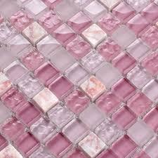 pink stone crystal mosaic tile sheet square backsplash washroom of wall stickers kitchen wall tiles