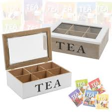 details about 6 section wooden tea box glass hinged lid kitchen storage tea bag home white new