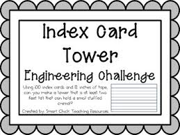 Make Index Cards Index Card Tower Engineering Challenge Project Great Stem Activity
