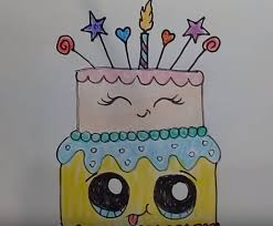How To Draw A Cute Birthday Cake