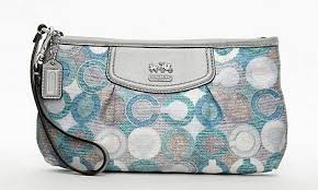 Coach Madison Graphic Signature Large Wristlet 47645 Silver Blue Green Multi