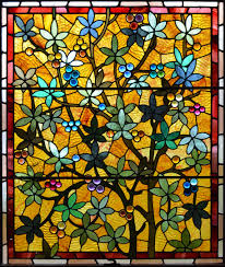 window stained glass flowers yellow red