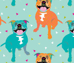 Happy Staffy Staffordshire Bull Terrier Party Bright Funny