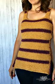 Crochet Tank Top Pattern Beauteous Striped Crochet Tank Top Hooked On Homemade Happiness