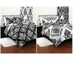 bedding comforter reversible damask set modern black white sham beautiful twin