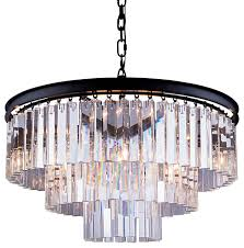 glass fringe 9 light chandelier gray iron clear with led bulbs