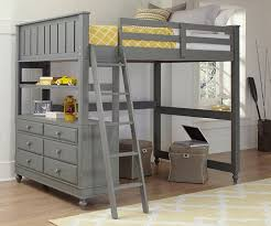 full size loft bed with stairs grey