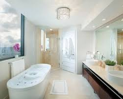 overhead bathroom lighting. contemporary freestanding bathtub idea in miami with a vessel sink overhead bathroom lighting n