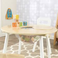 kids kidkraft round play table and 2 chair set with storage children furniture