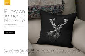 pillow armchair. pillow on armchair mockup generator