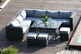 range 9 rattan corner sofa dining set garden furniture dark grey outdoor cushions